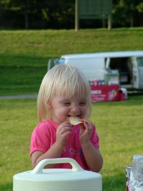 little girl on picnic