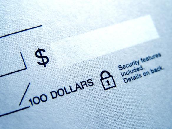 closeup of blank check