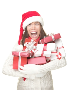 Keep Calm Woman holding xmas presents