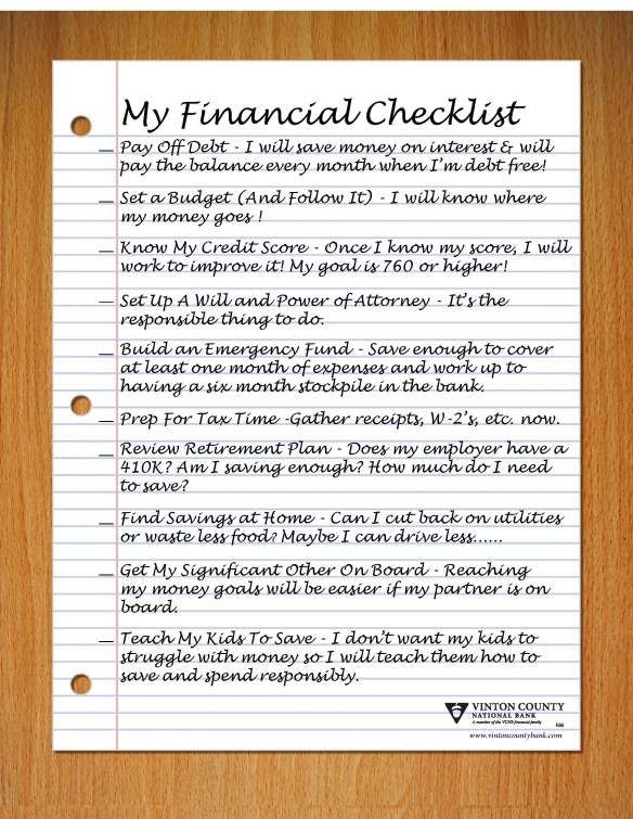 Financial Checksheet