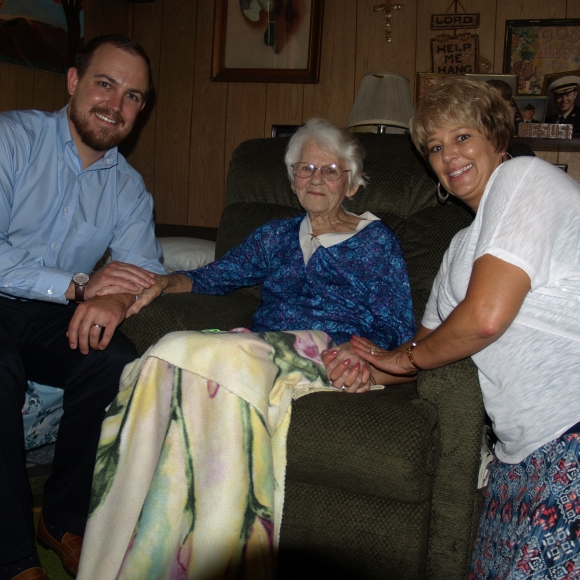 VCNB Retail Banking Officer Tom Oyer and Retail Accounts Officer Brenda Brooks visited Laura McGlaughlin in her home this summer.