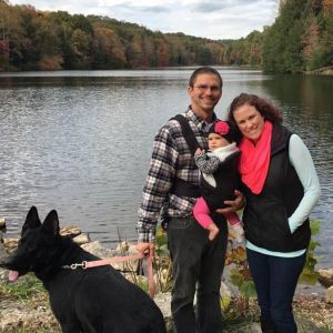 Salt Creek Banking Center Branch Manager Sarah Young is pictured this fall with her loves: Ben Lingo, their daughter Kinsley and her dog Schnelle.