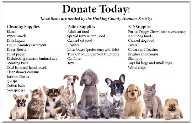 Hocking County Humane Society Donation List