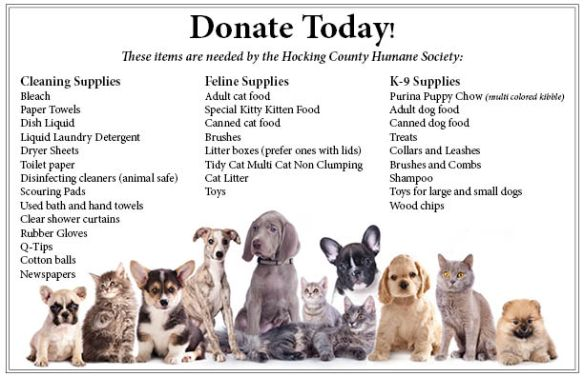 Hocking County Humane Society Donation List