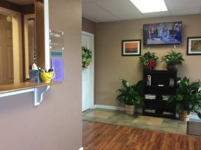 The waiting room is comfortable and welcoming.