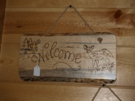 A welcome home sign.