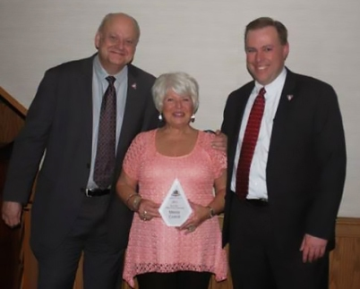 Melda Cottrill - Pillar of the Community with Ron Collins, Chris Coryea cropped
